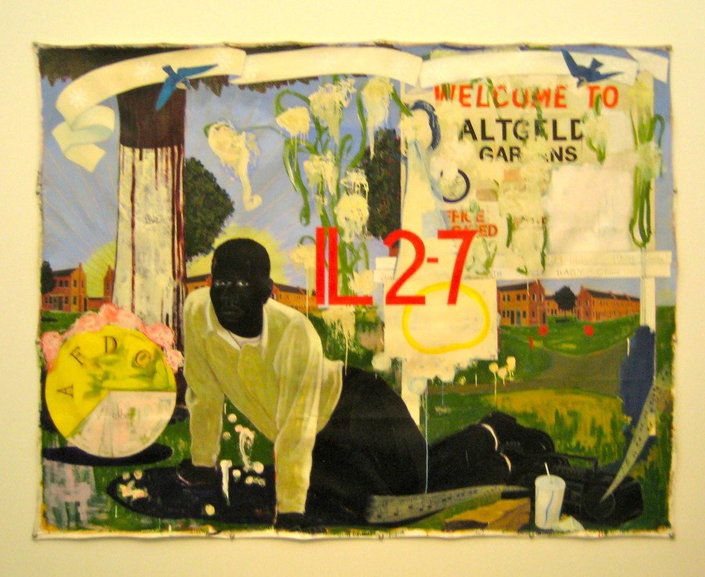 Untitled (Altgeld Gardens) acrylic and collage on canvas by Kerry James Marshall